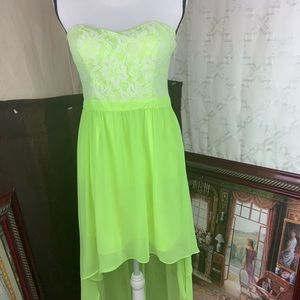 neon green dress  Sz large good condition